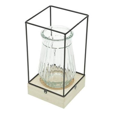 Luminaria-MDF-Metal-Vidro-Corrigated-Glass-Preto-12X12X25cm