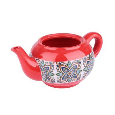Cachepot-Ceramica-Teapot-Floral-Vintage-Vermelho-27X165X11cm