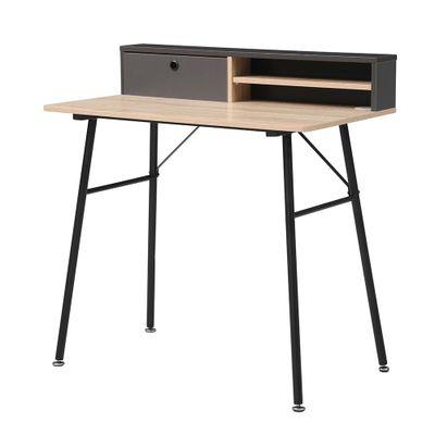 mesa-de-estudo-modelo-teacher-com-tampo-na-cor-carvalho-e-cinza-com-pernas-na-cor-preta-b