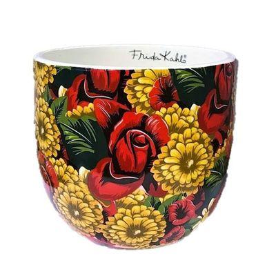 Cachepot-Ceramica-Fk-Red-Flowers-Fd-Preto-14X14X12cm