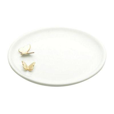 Artigo-De-Ornamentacao-Ceramica-Round-Double-Butterflies-Branco-20X25X20cm