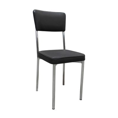 Cadeira-Cromada-Assento-Encosto-Preto-Filete-Preto