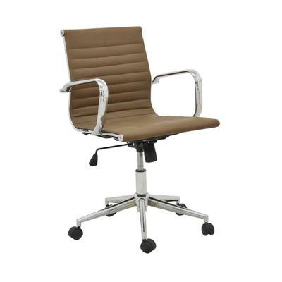 Cadeira-Office-Sevilha-Baixa-com-Rodizio-PU-Marrom-Escuro-Escritorio