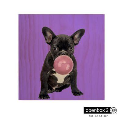 Quadro-Wood-Print-60X60-Fundo-Roxo-Bulldog