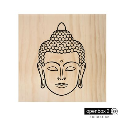 Quadro-Wood-Print-40X40-Fundo-Madeira-Esboco-Buda
