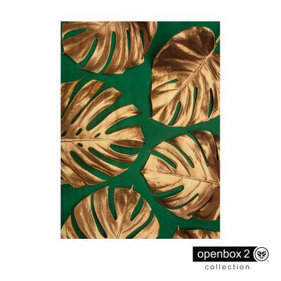 Quadro-Wood-Print-50X70-Fundo-Verde-Folhas-Douradas