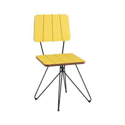 Cadeira-Costela-Amarela-Base-Butterfly-Preta