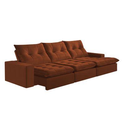 Sofa-Costa-Rica-350-com-Chaise-Esquerdo-Veludo-Marrom-1028-Mola-Ensacada