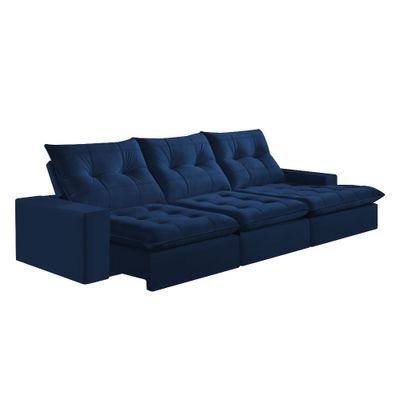 Sofa-Costa-Rica-350-com-Chaise-Esquerdo-Veludo-Azul-Marinho-1027-Mola-Ensacada