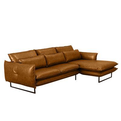 Sofa-Ibiza-270-com-Chaise-Direita-Couro-Camel-Waxy